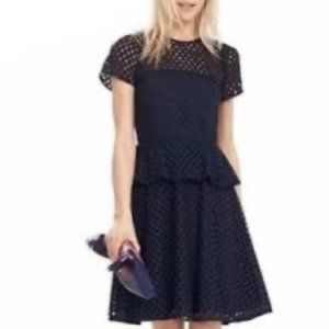 NWT Banana Republic Geo Lace Peplum Dress Navy 6P